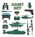 Flat Army Icon Set vector image