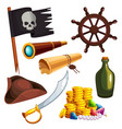 set of pirate elements vector image
