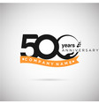 500 years anniversary logo with ribbon and hand vector image vector image