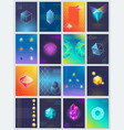 abstract geometric shapes and shiny crystals set vector image