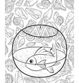 adult coloring bookpage an acuarium on the vector image
