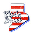 american flag in rhode island state map grunge vector image