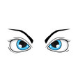 angry blue eyes hand drawn sketch vector image