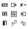 black exit icons set vector image vector image