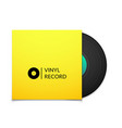 Black vintage vinyl record with blank yellow cover vector image vector image