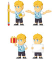Blonde Rich Boy Customizable Mascot vector image