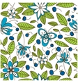 Blueberry seamless pattern with flowers vector image vector image