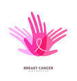 breast cancer awareness pink girl hands for help vector image vector image