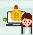business woman bitcoin cryptocurrency blockchain vector image vector image