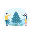 caucasian couple drinking champagne near christmas vector image