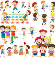 Children playing different kinds of games vector image vector image