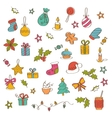 Christmas background with hand drawn icons vector image vector image