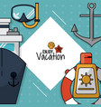 colorful poster of enjoy vacation with snorkel and vector image vector image