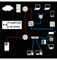 computer network connections white icons and vector image vector image