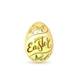 easter egg 3d icon gold egg lettering isolated vector image vector image