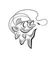 fishing logo black and white vector image