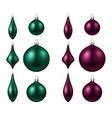 green and magenta isolated christmas balls set vector image vector image
