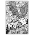 gryphon engraved fantasy vector image vector image