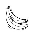 hand drawn doodle banana icon for backgrounds vector image vector image