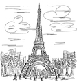 hand drawn eifel tower paris france tourist vector image vector image