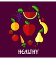 healthy eating poster with fruits and vegetables vector image