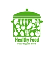 Healthy food badge Pan with vegetables vector image vector image