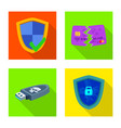 isolated object of virus and secure sign vector image