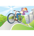 man driving bike from big city vector image vector image