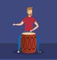 man playing bongo tropical instrument vector image vector image
