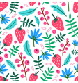 motley seamless pattern with summer strawberries vector image vector image