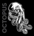 octopus drawing on black background vector image vector image