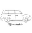 off-road vehicle car body type outline vector image vector image