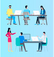 people at work office with busy workers and boss vector image vector image