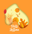 poster with leafs and slogan hello autumn 3d vector image vector image