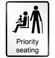 Priority seating Information Sign vector image vector image