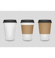 Realistic 3d paper coffee cup icon set