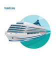 round emblem on white background with cruise ship vector image vector image