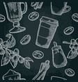 seamless pattern glass latte sugar beans branch vector image vector image