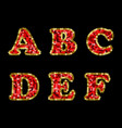 sequin red and gold alphabet part 1 vector image