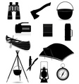 set icons items for outdoor recreation black and vector image