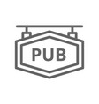 simple bar and pub signboard line icon symbol and vector image