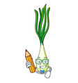 student cartoon fresh green onions on cutting vector image vector image