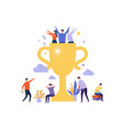 successful business team winner cup and tiny vector image vector image