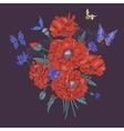 summer vintage floral bouquet greeting card vector image