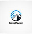 Techno mountain logo designs icon element and