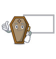 thumbs up with board coffin character cartoon vector image