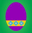 Violet easter egg with flower pattern on green bac vector image vector image