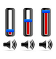 volume control sliders with speaker symbols vector image vector image