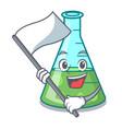 with flag science beaker mascot cartoon vector image