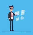 young businessman or manager with virtual reality vector image